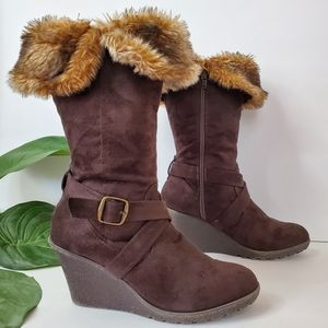 Brown Faux Fur Mid Calf Boot Wedges XOXO